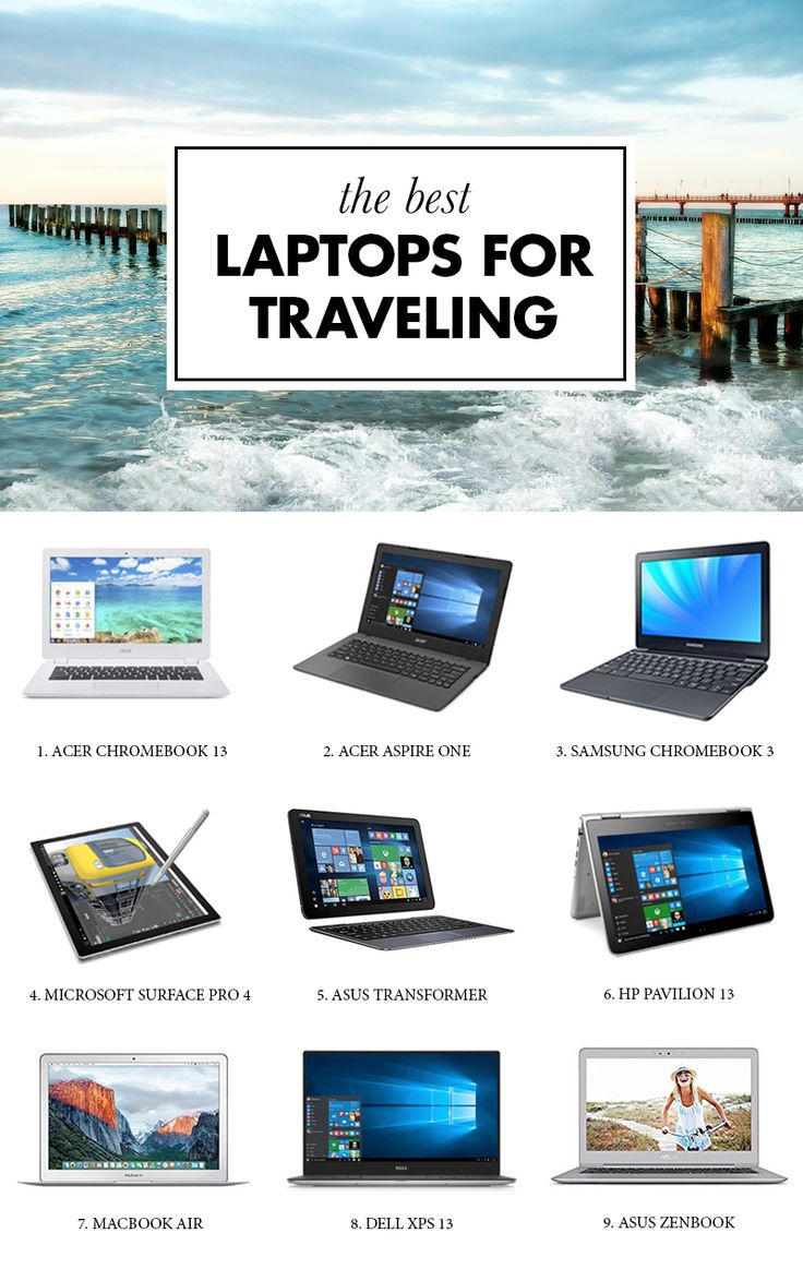 Looking for the best laptop for traveling? Look no further. We have compiled a list of the best travel laptops, so you don't have to spend hours upon hours on research.  ------------ macbook air, asus zenbook, samsung chromebook, dell xps 13, hp pavilion, acer aspire, microsoft surface pro, ultrabook