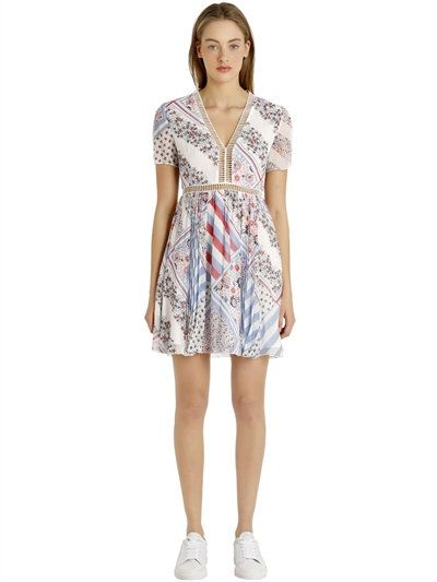 TOMMY HILFIGER Gigi Hadid Printed Silk Chiffon Dress, Blue/Multi. #tommyhilfiger #cloth #dresses