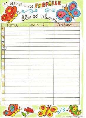 maestra Nella: elenco alunni per la sezione delle farfalle...