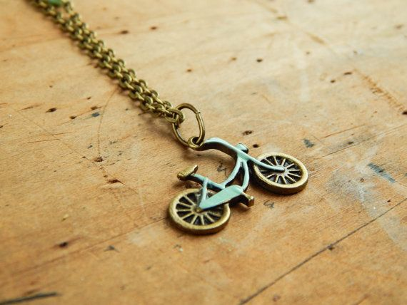 Bicycle necklace / bike necklace / mint necklace by FleetwoodandCo