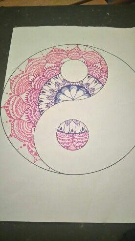 Mandala zentangle zenart jing jang hand-made bisexual pride colours