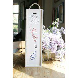 SVATEBNÍ DAR, svatební kazeta na víno se jmény
