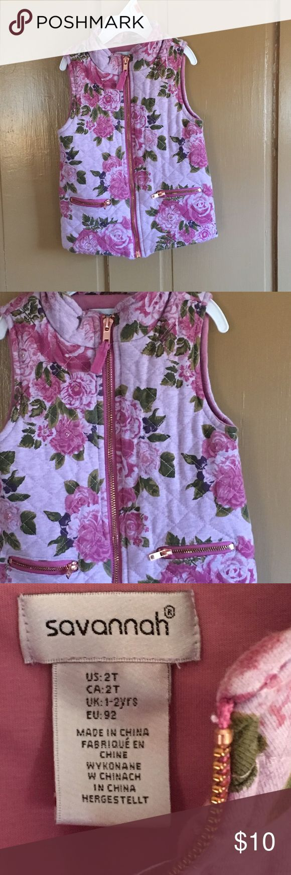 Baby girl pink floral zip up vest.  Worn twice. Baby girl pink floral zip up vest.  Worn twice.  Great condition Jackets & Coats Vests