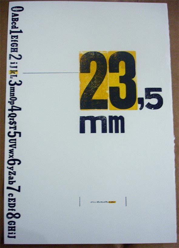 Cartaz 23,5mm, feito em letterpress na Oficina Tipográfica São Paulo