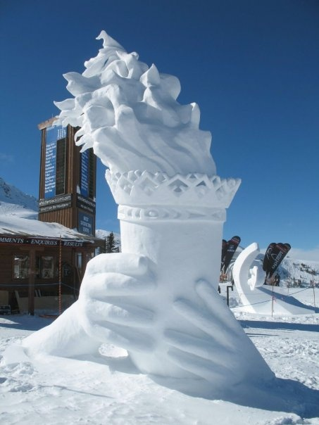 Olympic flame in snow at Vancouver BC Winter Olympics
