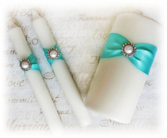 Tiffany Blue Wedding Unity Candle and Tapers Set  by All4Brides, $27.00
