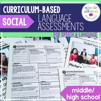 """Social Language is often so difficult to assess. That's why I created the Social Language Version of my Curriculum-Based Assessments for middle school and high school students. The term curriculum-based assessment (CBA) simply means measurement that uses """"direct observation and recording of a student's performance in the local curriculum as a basis for gathering information to make instructional decisions""""(Deno, 1987, p. 41)."""