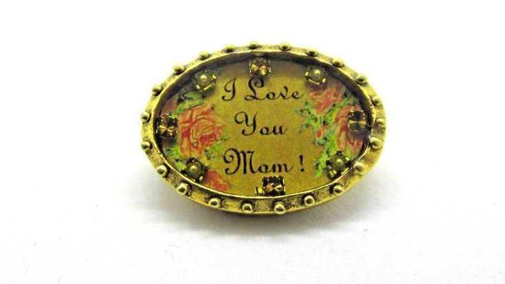 MAXIMAL ART Pin Brooch I love you Mom Oval Frame John Wind Jewelry Gold Plate #MaximalArtJohnWind