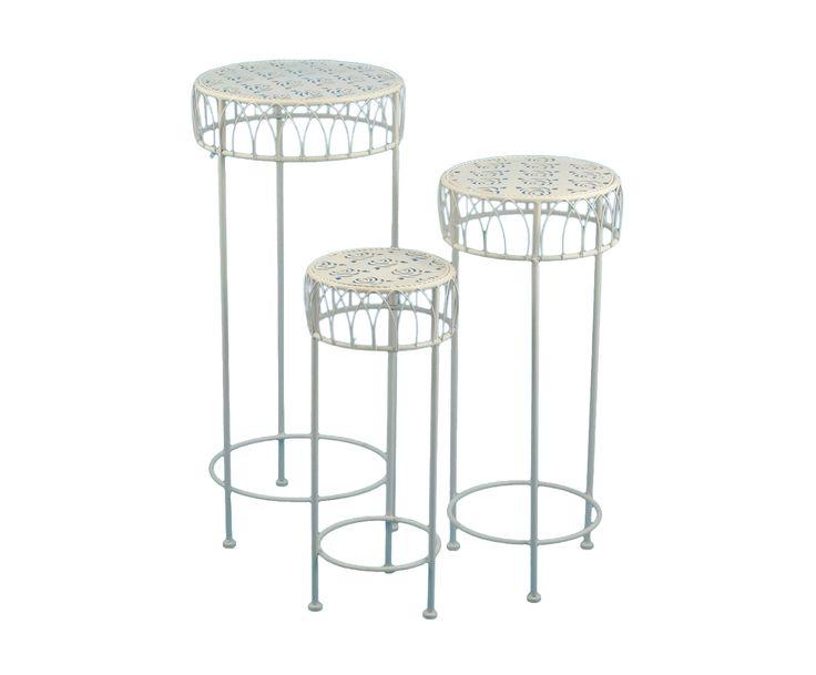 Набор из 3-х столиков - железо - бежевый, В70,Ø30   Westwing Интерьер & Дизайн