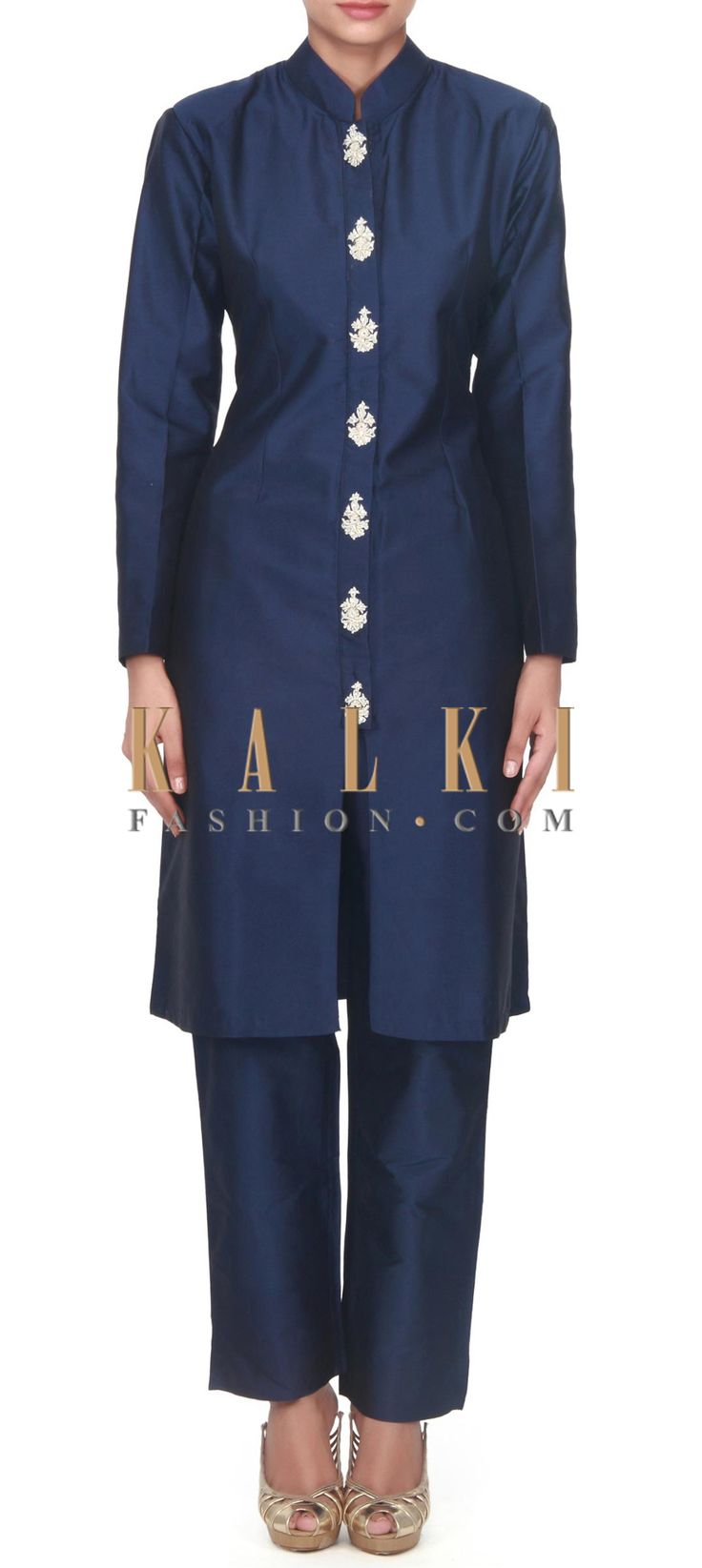 Buy this Navy blue suit adorn in embellished in placket only on Kalki