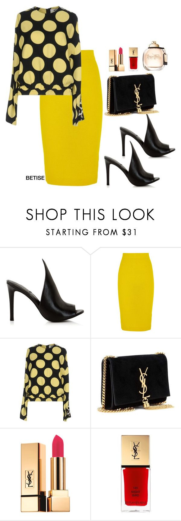 """""""POLKA DOT....... GEANT 💛"""" by betty-sanga ❤ liked on Polyvore featuring Kendall + Kylie, J.Crew, MSGM and Yves Saint Laurent"""