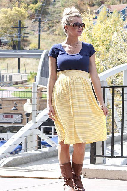 Maternity skirt tutorial [ NineAndAHalfMonths.com ] #maternity