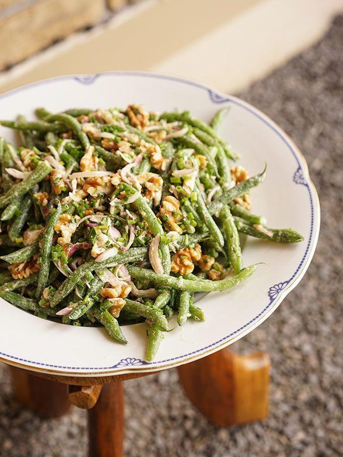 Salade de haricots verts au chèvre et aux noix - Recette ...