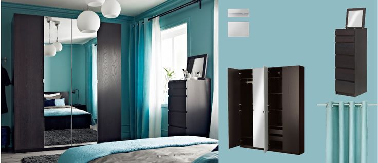 PAX black-brown wardrobe with NEXUS black-brown doors and VIKEDAL mirror doors + MALM black-brown vanity.