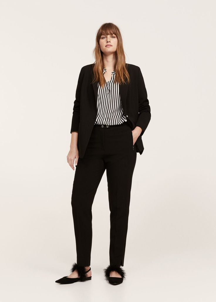 Zipped straight trousers - Pants  Plus sizes   Violeta by MANGO USA