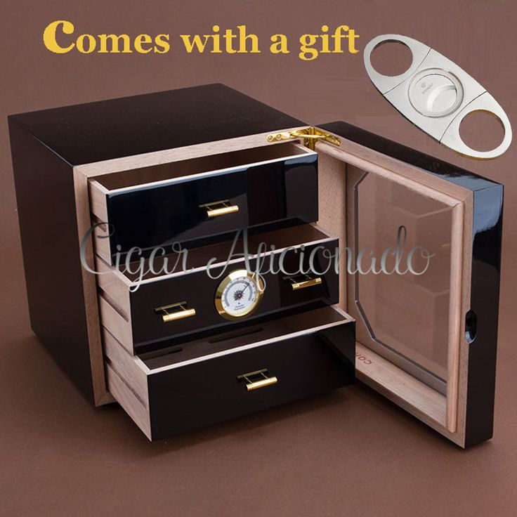 COHIBA Luxury Black High Glossy Piano Finish Cedar Wood Cigar Humidor Cabinet  Storage Box W/ 3 Drawers Hygrometer Humidifier //Price: $148.00 & FREE Shipping //     #hashtag4