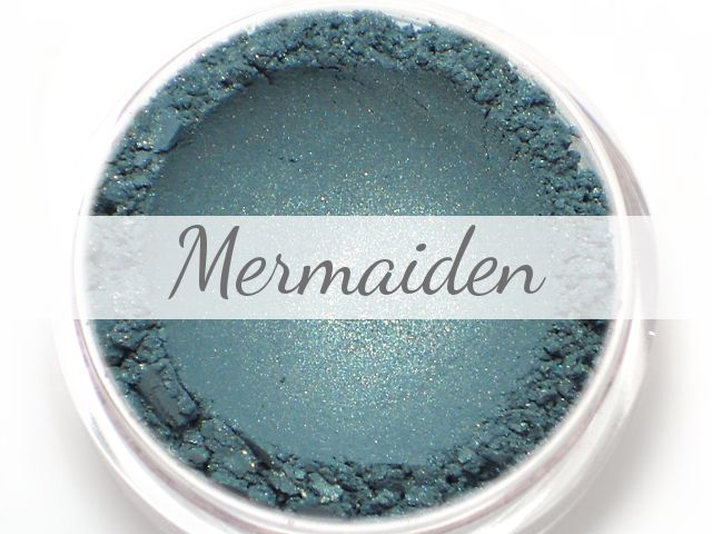 "Shade: ""Mermaiden"" A teal eyeshadow with flecks of gold shimmer. Finish: Shimmer Etherealle mineral eye shadows are formulated to have a smooth and creamy consistency, great opaque color payoff, and g"
