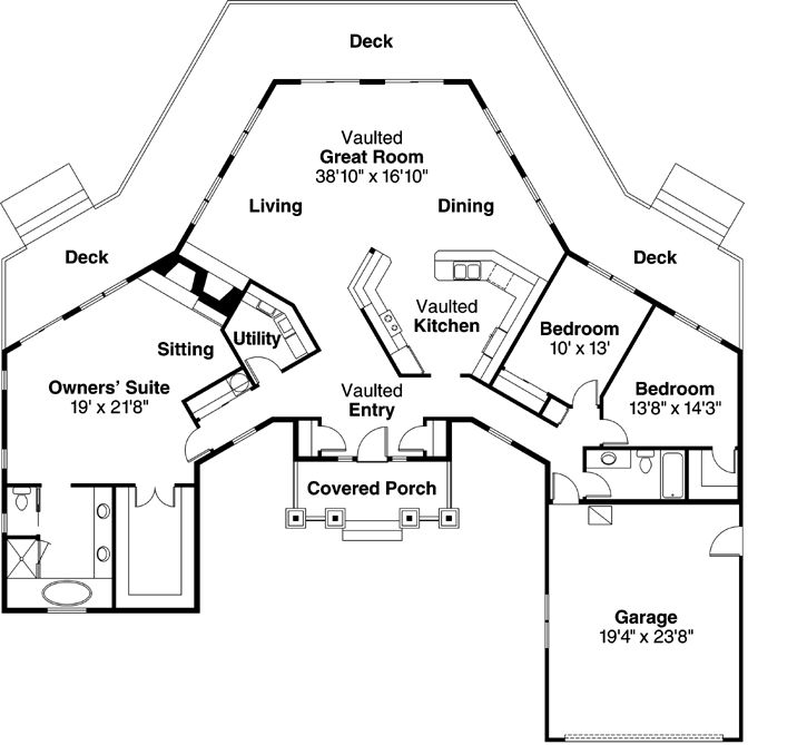 Cottage Style House Plans - 2292 Square Foot Home , 1 Story, 3 Bedroom and 2 Bath, 2 Garage Stalls by Monster House Plans - Plan 17-174