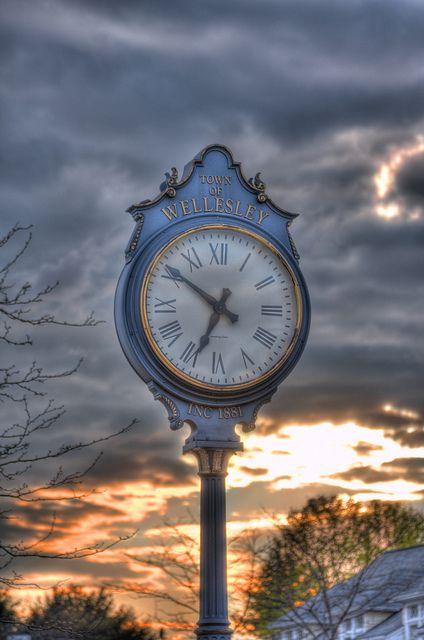 Clock in downtown Wellesley, Massachusetts.  Robert Kendall - photographer