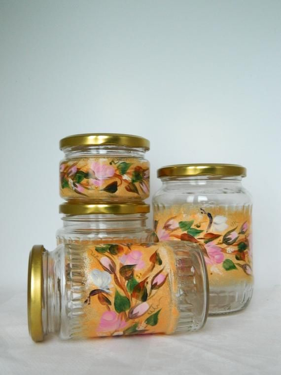 Kitchen Canisters Set Gl Cookie Jar Painted Flour Etsy