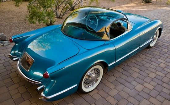 STRANGE 1954 CORVETTE CONCEPTS - BUBBLE TOP! - WIRED WHEELS AND WHITE WALLS