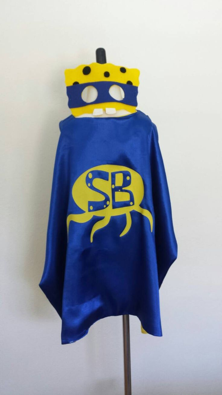 Spongebob Superhero Cape and Mask- Super Hero Birthday/ Costumes/ Party Favors - Ready To Ship!! by ThePartyMomma on Etsy https://www.etsy.com/listing/237260949/spongebob-superhero-cape-and-mask-super