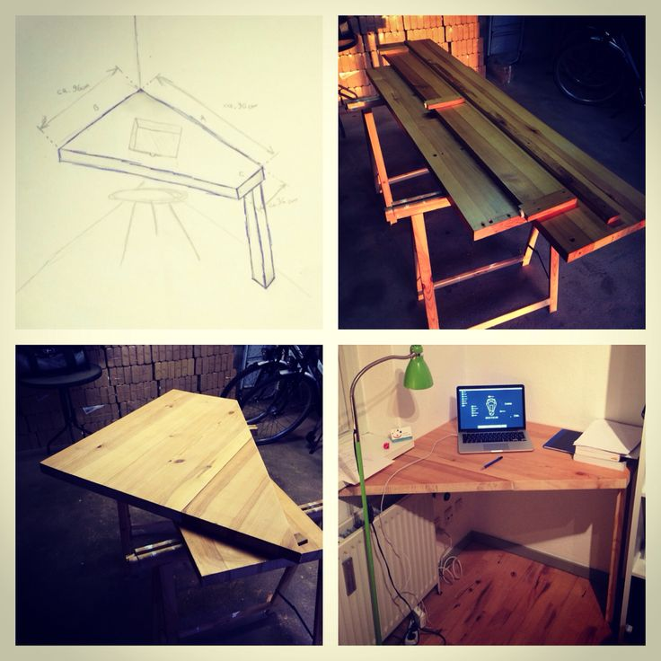 My new wood (oak) desk, made by myself. From paper to workshop to product.