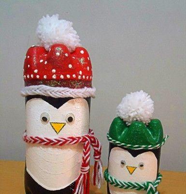 pinguinos navideños con botellas | Cosas para compartir ...
