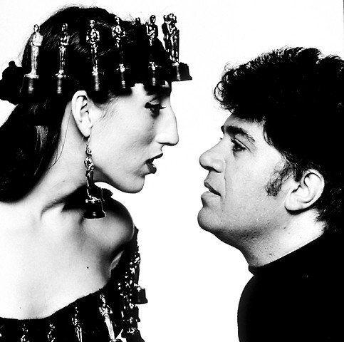 Pedro with Rossy de Palma Inside, inside beauty of genius