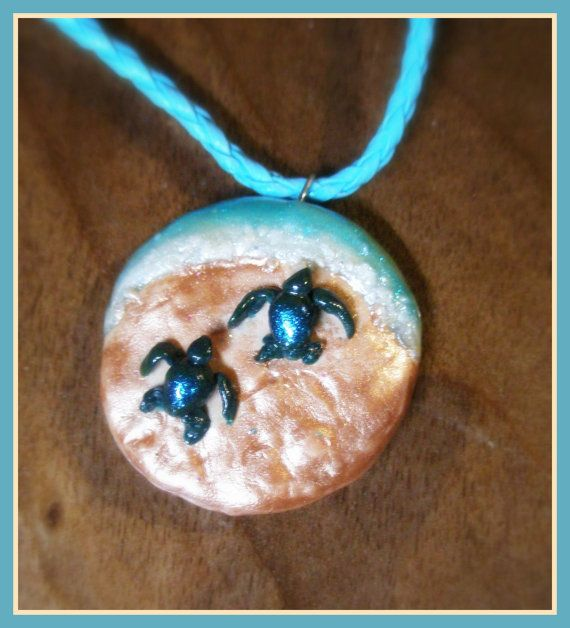 Beautiful Baby SEA TURTLES Clay Pendant Necklace by CaribouGypsy, $10.00