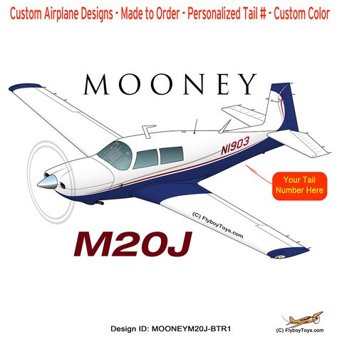 Mooney M20J / 201 (Blue/Tan/Red) Airplane Design