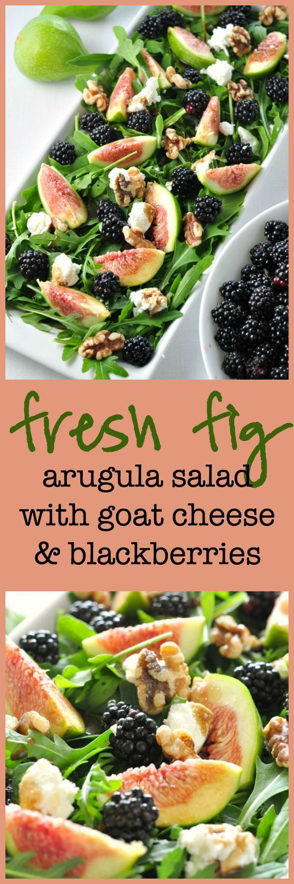 Fresh Fig Arugula Salad with Blackberries, Goat cheese and Walnuts. Full of anti-oxidants! This salad is so pretty, seriously tasty, and packed full of healthy greens, berries, nuts, cheese and figs!
