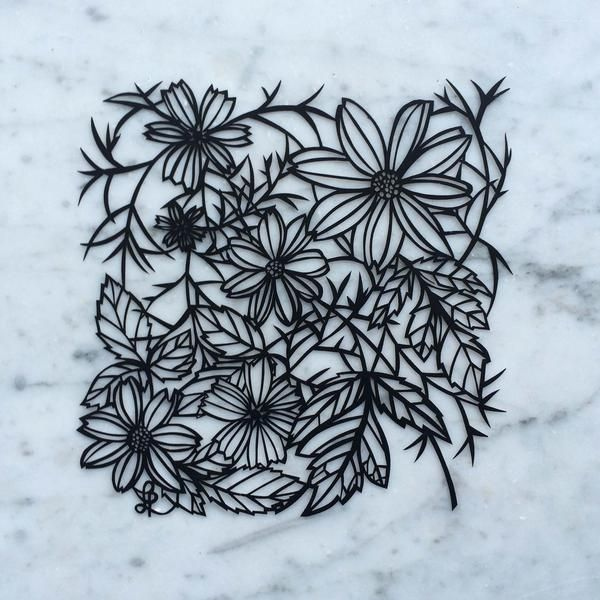 Original Cut Paper Artwork This tangled web of flowers and leaves evokes the rich complexity of these single-flowered dahlias against their dark tinged foliage. Artwork is hand cut from a single sheet