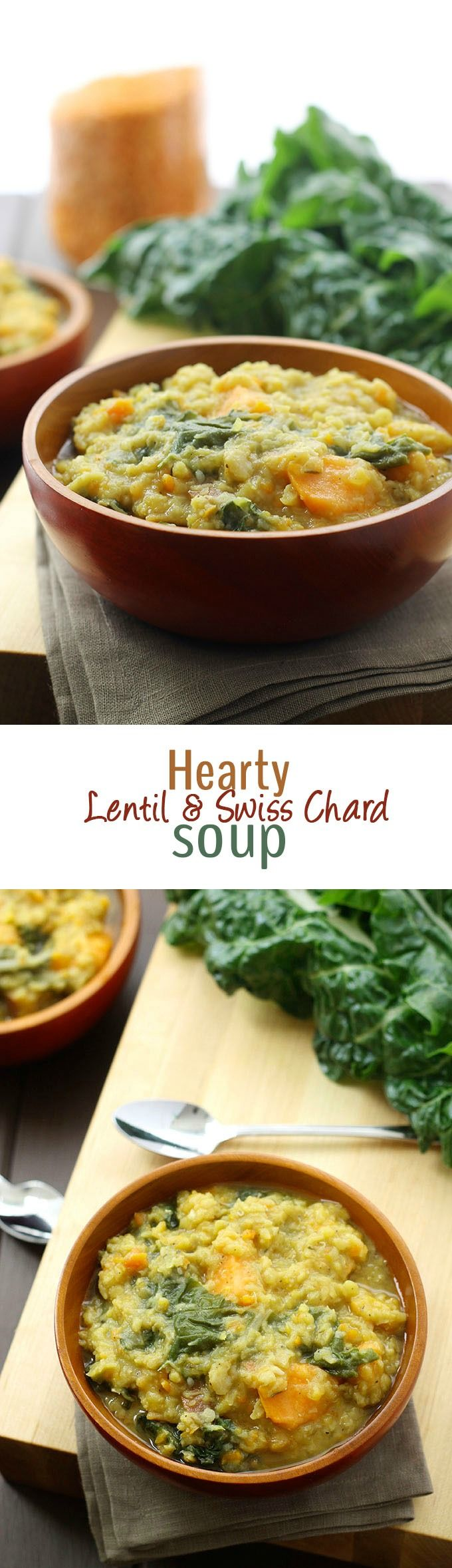 Hearty Lentil and Swiss Chard Soup - a veggie and protein-packed soup that's perfect for Fall! #healthy #recipe