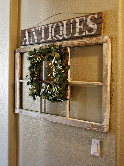 Old Chippy Window Frame...with wreath & antiques sign.