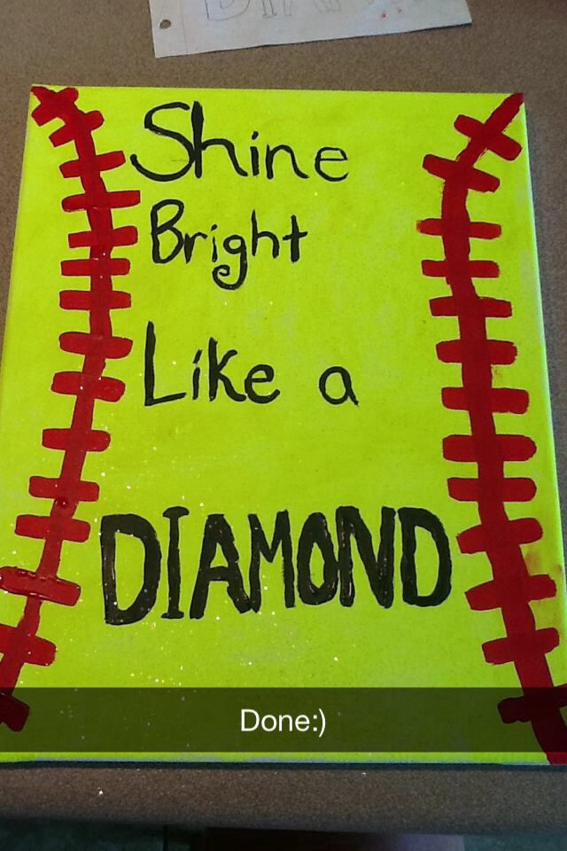 Softball quote on canvas