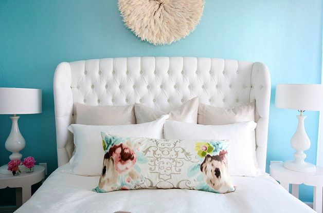 want!: Wall Colors, Design Bedroom, Tufted Headboards, Blue Wall, White Beds, Head Boards, White Bedrooms, Master Bedrooms, Bedrooms Decor