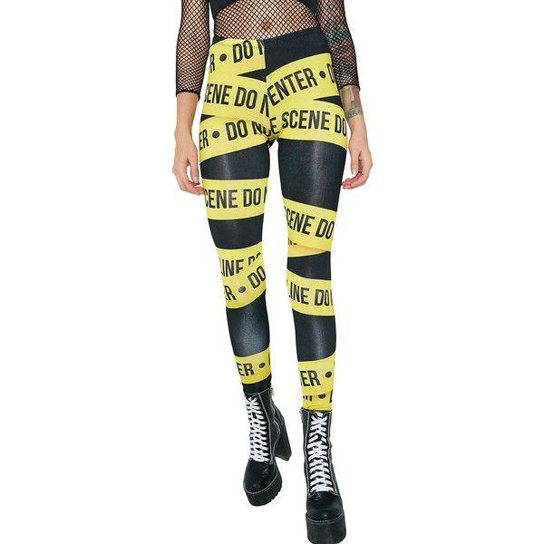 Crime Scene Tape Leggings ($25) ❤ liked on Polyvore featuring pants, leggings, wetlook leggings, glossy leggings, white shiny leggings, shiny pants and shiny leggings