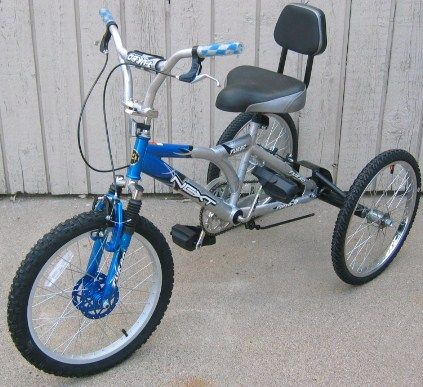 Check out http://trikezilla.com!  Special needs 3 wheel bicycle tricycle conversion axle kit.training wheels bracket using fat tires.