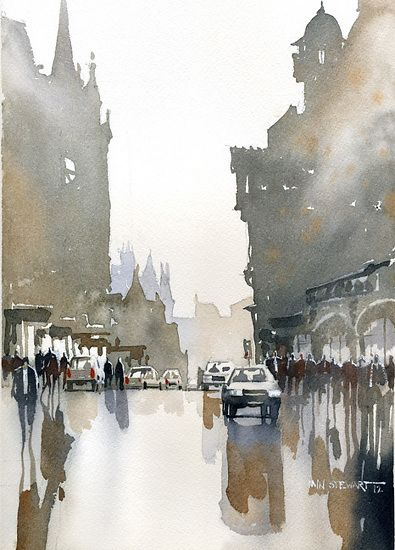 The Collinton Road- Edinburgh by Iain Stewart Watercolor It was just another day, the rain stopped suddenly and the sun shone on the wet streets, in the street I saw possibilities, how I could embrace my reflection and escape into my shadows.