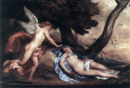 Die Geschichte von Eros und Psyche: Psyche wird von Morpheus in den Schlaf versetzt