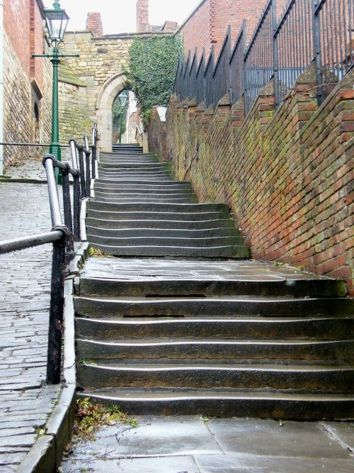 Greestone Stairs, Lincoln.  It is said that a bouncing, severed head bowls down the steps knocking people over if they're not quick enough to move out of the way.....