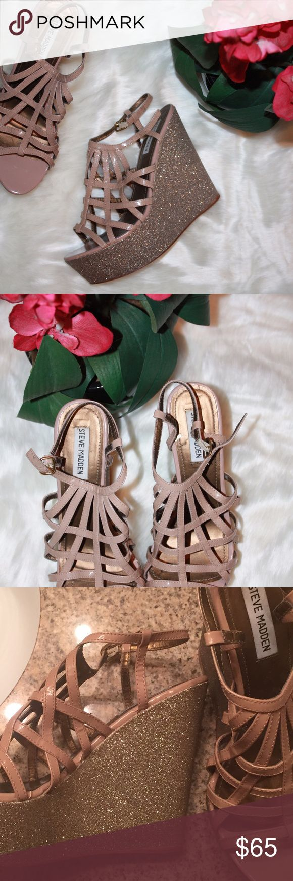 Steve Madden cage top nude wowww wedges Glitter and nude strappy wedge size ten. I can't wear tall heels due to my ankle being broken too many times.  Stickers still on the bottom!  Can't find these anywhere anymore. Great condition! Authentic! Steve Madden Shoes Wedges