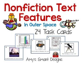 Learning the nonfiction text features is such an important part of reading!  Reinforce these features with these 24 space themed task cards.  Includes 24 cards, student answer sheet and teacher answers.Great for centers, whole class or small group instruction.Matching Nonfiction text features PowerPoint available in my store.Nonfiction Text Features PowerPoint