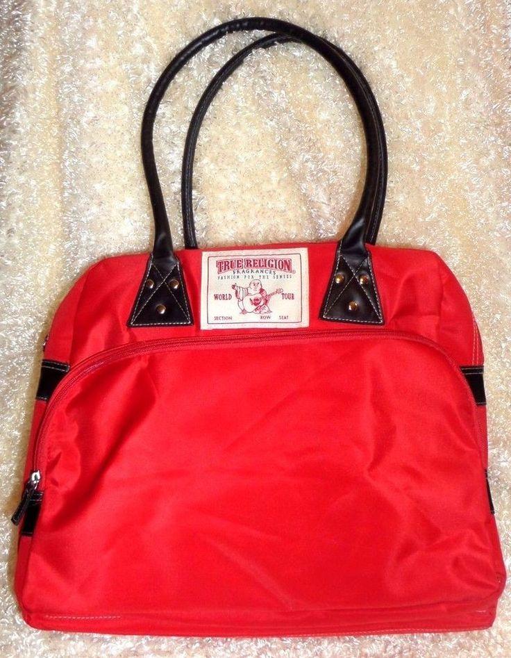 True Religion Large Red Shoulder Duffle Hand Tote Bag Weekender bag Travel VGC #TrueReligion #ShoulderBag