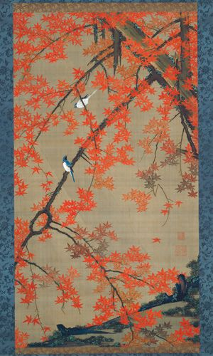 #30 Maple Tree and Small Birds, Colorful Realm, Japanese Bird-and-Flower Paintings by Ito Jakuchu