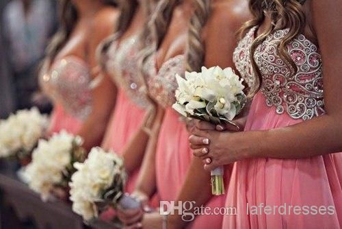 Cheap Bridesmaid Dresses - Discount Line Short Coral Chiffon Bridesmaid Dress with Beads Online with $116.0/Piece | DHgate