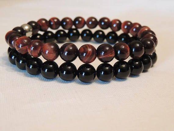 Red Tigers Eye & Black Onyx Agate Gemstone  Stainless Steel