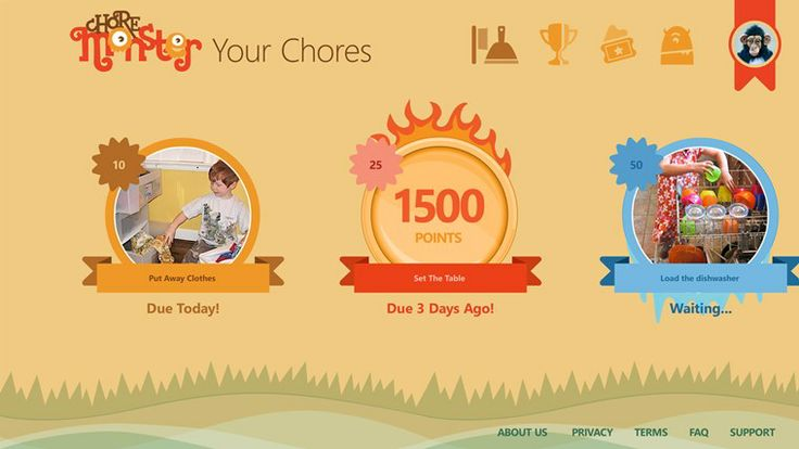 Chore Monster // Kids earn points by completing their chores Kids earn points by completing their chores Earn rewards like ice cream, an hour of Xbox, or a camping trip Win monsters at the Monster Carnival (over 250 available, more being added monthly!) Could be used for classroom behaviours as well.