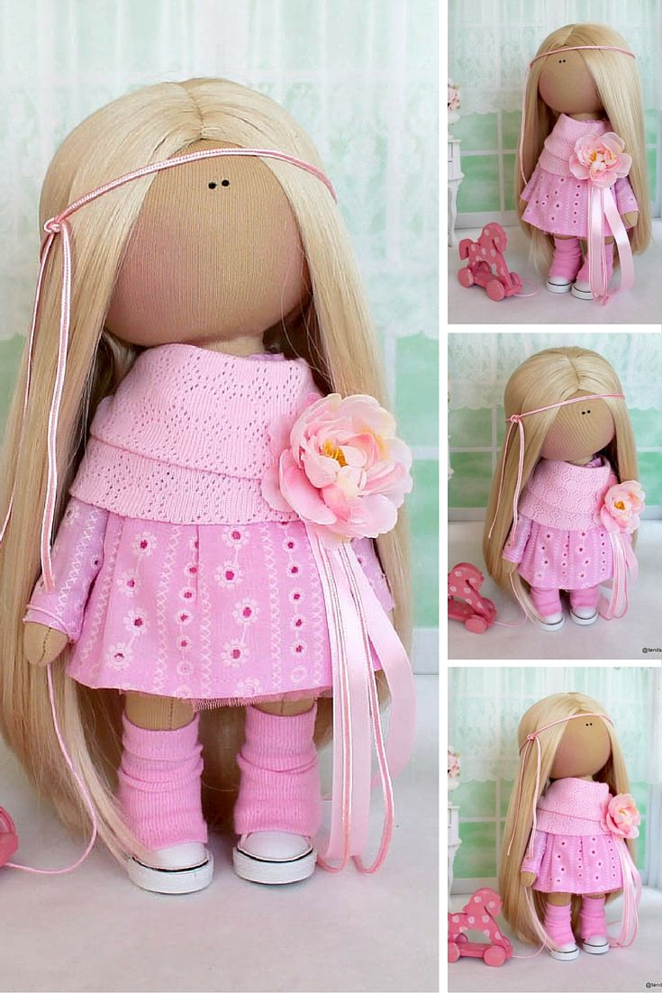Tilda doll Textile doll Fabric doll Handmade doll Soft doll Love doll pink color…